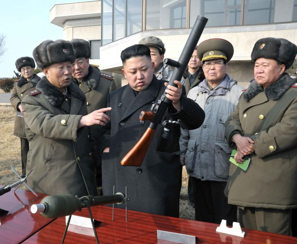 N. Korean leader inspects artillery firing drill