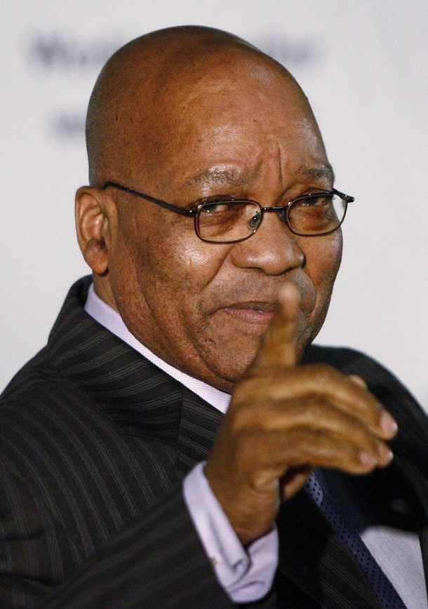 South African President Zuma gestures during a news conference in Pretoria