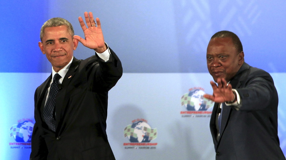 President Obama and Kenyan President Uhuru Kenyatta wave from the stage after delivering remarks at the Global Entrepreneurship Summit in Nairobi on Saturday